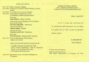 25 aprile Udine_programma celebrazione